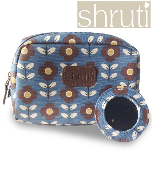 Shruti Blue Floral Makeup-cosmetic Bag - Finga-nails