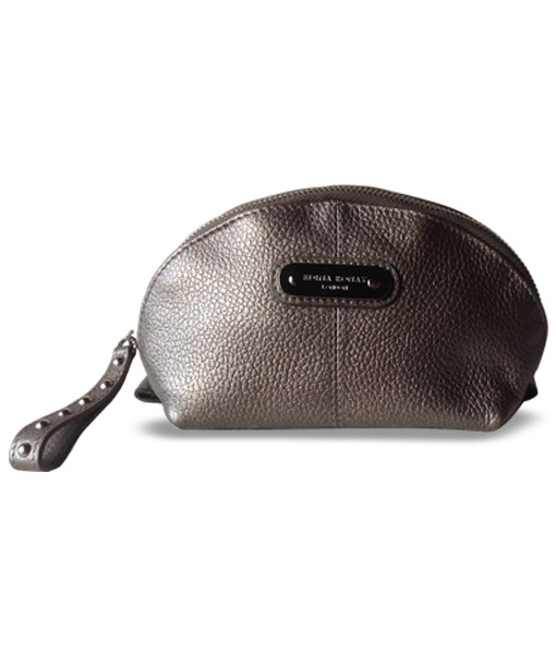 Edina Ronay Pewter Leather Cosmetic Bag