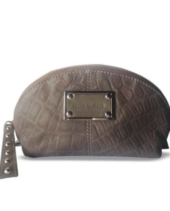 06f2f4ee2d0a JAMES LAKELAND Taupe Grey leather PHILIPPA cosmetic bag