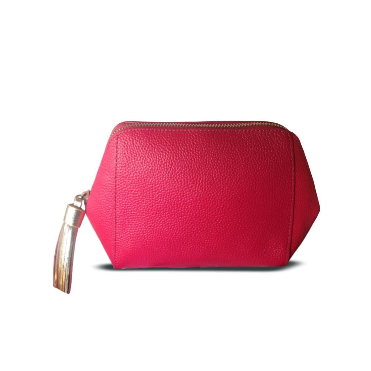 HOBBS Pippa Fuchsia PINK Leather Trapezoid Luxury Cosmetic Bag ... 104501c79cb1c